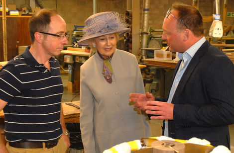 Princess Alexandra talks to Justin Wilkes, Head cabinetmaker with Julian Brown, MD