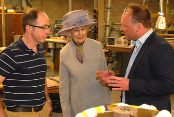 HRH Princess Alexandra visits ijlbrown: Princess Alexandra talks to Justin Wilkes, Head cabinetmaker with Julian Brown, MD