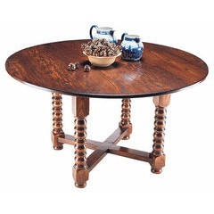 Bobbin cross stretcher round dining table
