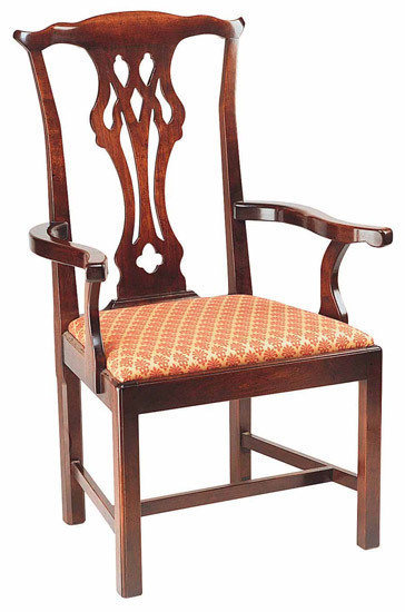 Mansion Chippendale chair: W529 Mansion Chippendale arm in cherry with upholstered seat
