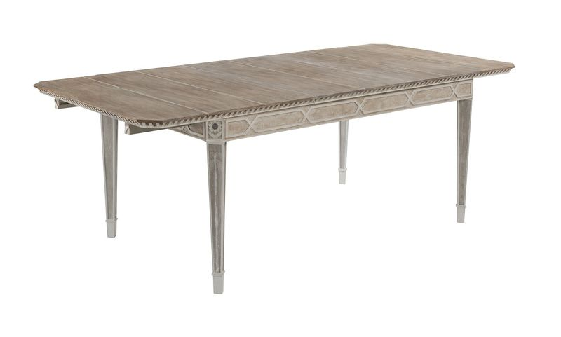 Cote D'Azur Extending Dining Table: A generous 6 seater shown with one leaf centralised