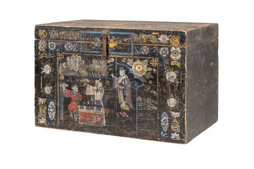 Chinoiserie Black Painted Trunk