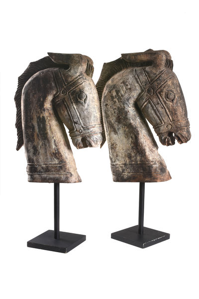 Pair of Carved Horse Heads on stands