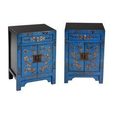 Pair of Royal Blue Bedsides