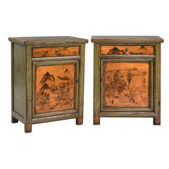 Pair of Green Oriental Cabinets