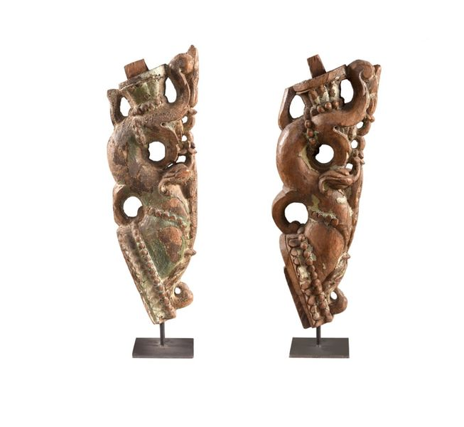 Pair of antique carvings