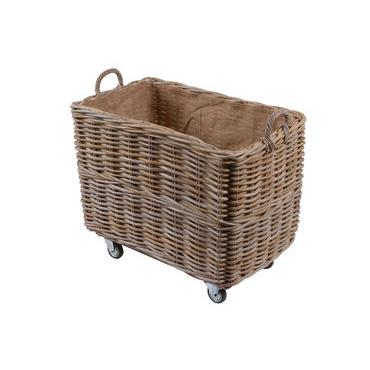 Large Rectangular Log Basket on Wheels