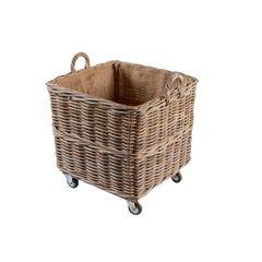 Large Square Log Basket on Wheels