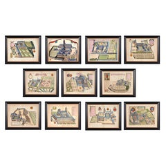 Set of 11 Monastic Coloured Copper Plates