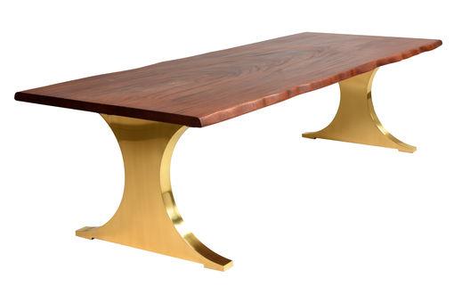 Bespoke Wany edge Table with polished brass base