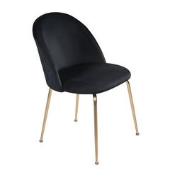 Onyx black velvet dining chair