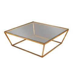 Gilded Metal Base Coffee Table