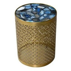 Metal base side table with blue stone top
