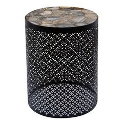 Metal base side table with brown stone top