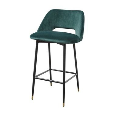 Fulham Bar stool in Green velvet