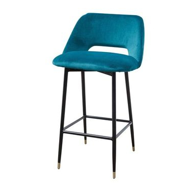 Fulham Bar stool in petrol blue velvet