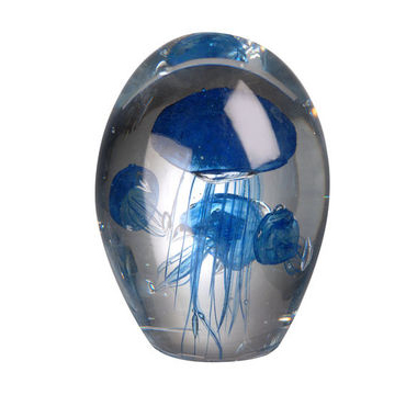 Blue Glass Jellyfish Paperweight