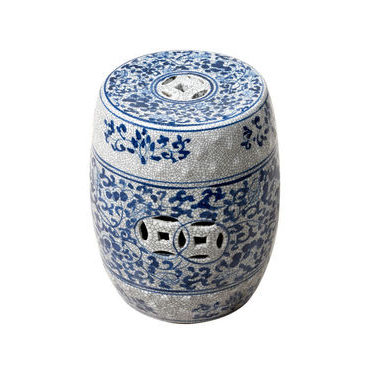 Blue & White Ceramic Stool