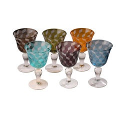 Set of 6 Coloured Wine Glasses