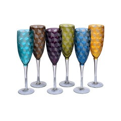 Set of 6 coloured Champagne glasses