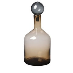 Short Smoked Brown glass bottle with stopper