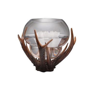 Round Vase with decorative antler surround