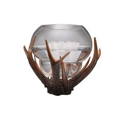 Round Vase with decorative antler surround