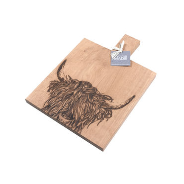 Highland Cow Etched Oak Paddle