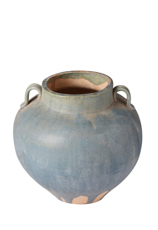 Round Blue pot with handles