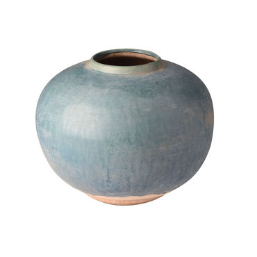 Low Round Aged Blue Vase
