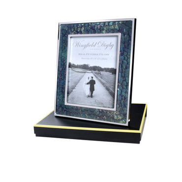 Green Pheasant feather and glass photo frame 10 x 8