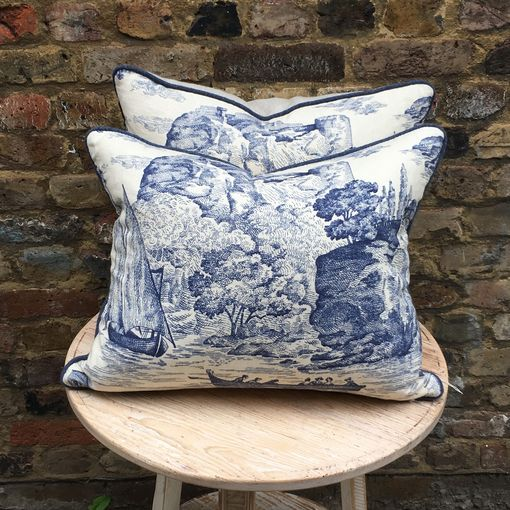 Blue Toile fabric Cushions