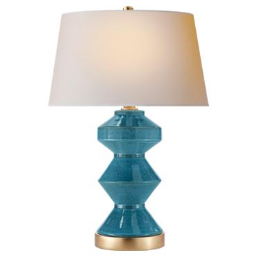 Weller Zig-Zag Table Lamp in Oslo Blue