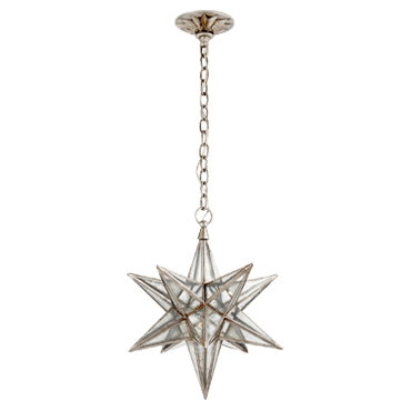 Moravian Medium Star Lantern in Burnished Silver Leaf