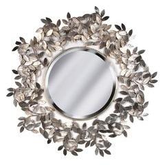 Round aged Silver leaf mirror