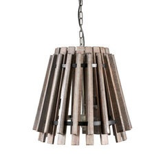 Aged Slatted Wooden Pendant Lamp