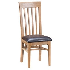 Slat Back Dining Chair - leather seat
