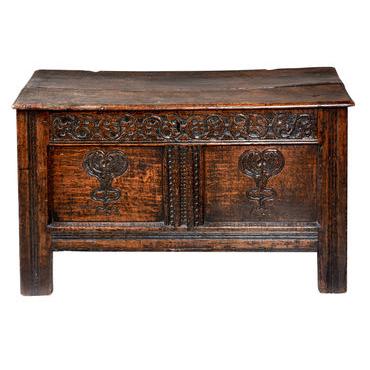 Oak Carved Coffer