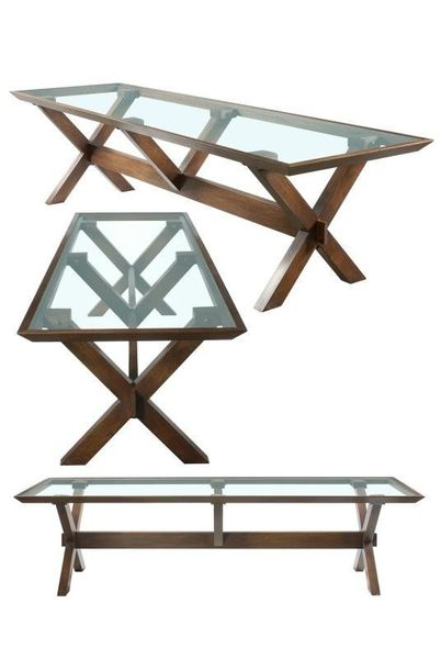 Bespoke Trestle Table with glass top