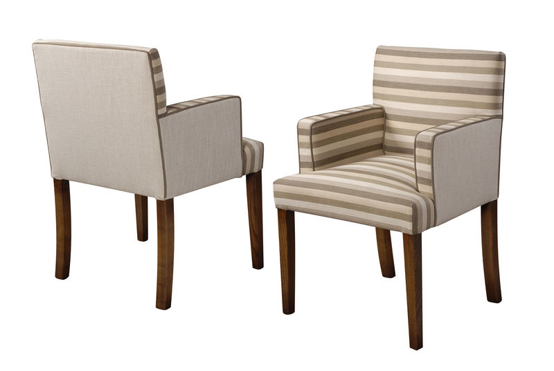 Hampton lowback arm upholstered chairs fauld england for Long back dining chairs