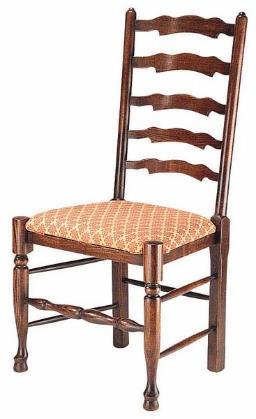Wavyline Ladderback Chair With Upholstered Seat Ladder
