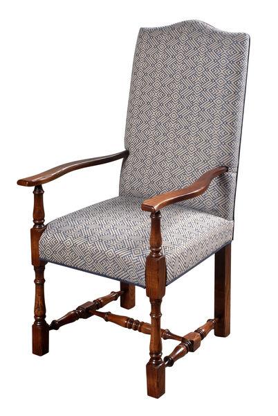 Elizabethan Turned Leg Upholstered Chair: U909 Arm chair