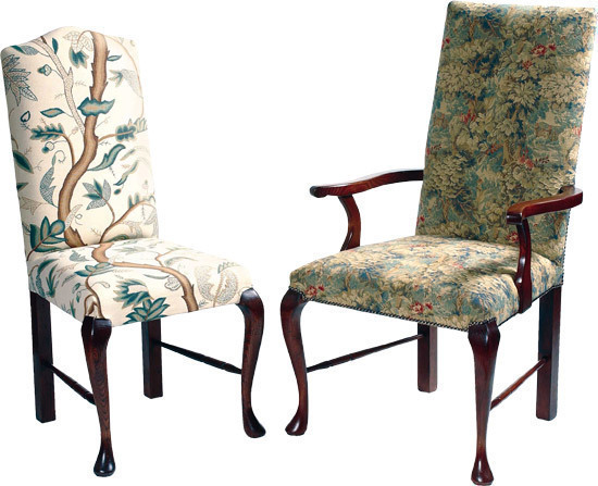 Elizabethan English Cabriole leg upholstered chair