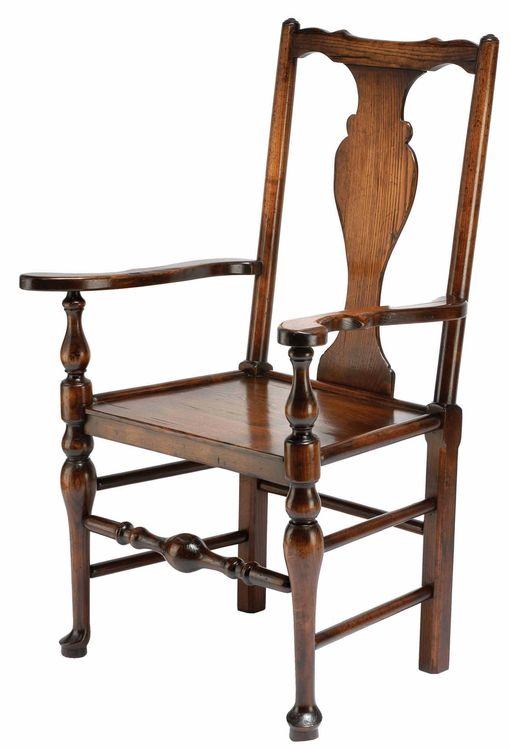 Bodger Chippendale Solid Splat Chair: W554 Bodger Chippendale arm in ash with wooden seat and solid splat